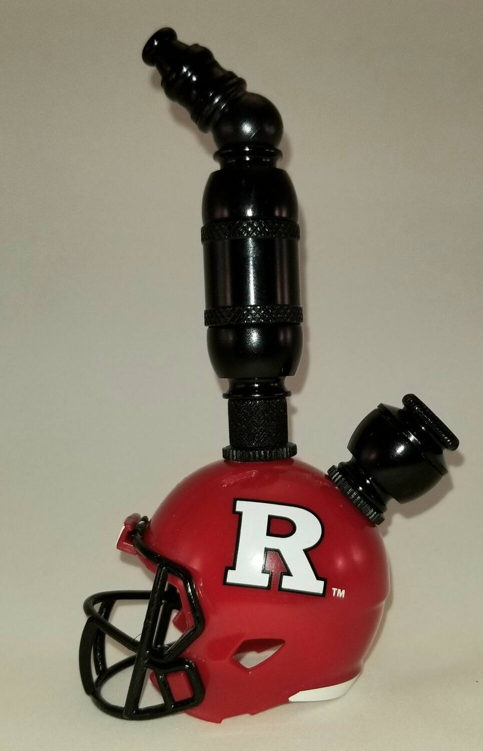 """RUTGERS SCARLET KNIGHTS """"BAD ASS"""" FOOTBALL HELMET SMOKING PIPES Upright/Black Anodized"""