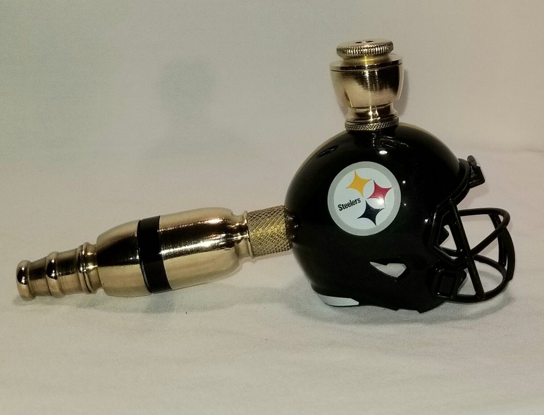 PITTSBURGH STEELERS NFL FOOTBALL HELMET SMOKING PIPE Straight/BRASS