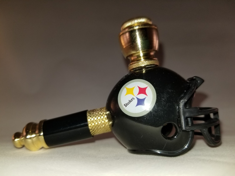 PITTSBURGH STEELERS NFL FOOTBALL HELMET SMOKING PIPE Mini/Brass/Black