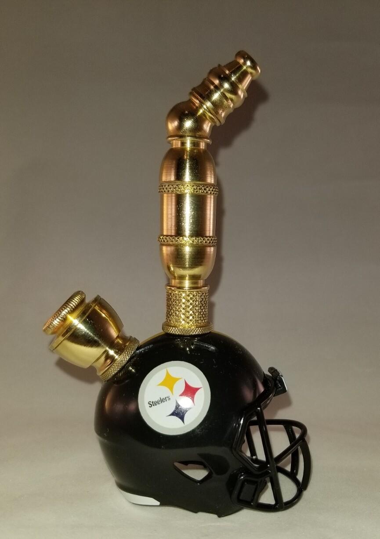 PITTSBURGH STEELERS NFL FOOTBALL HELMET SMOKING PIPE Upright/Brass