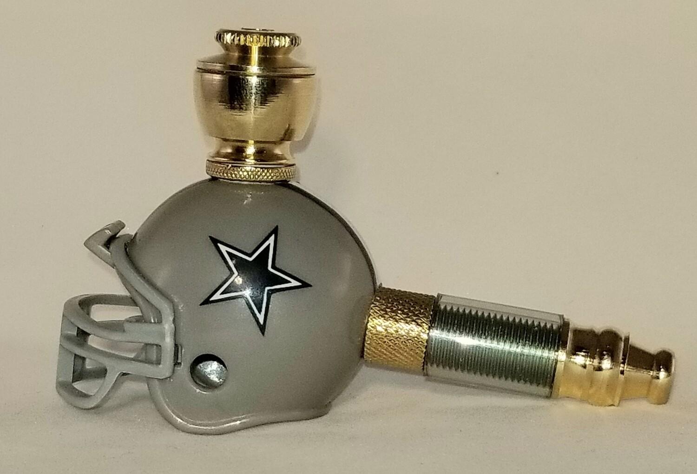 DALLAS COWBOYS NFL FOOTBALL HELMET SMOKING PIPE Mini/Brass/Clear