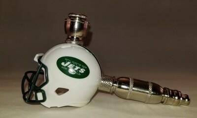 NEW YORK JETS NFL FOOTBALL HELMET SMOKING PIPE Straight/Nickel/Old School