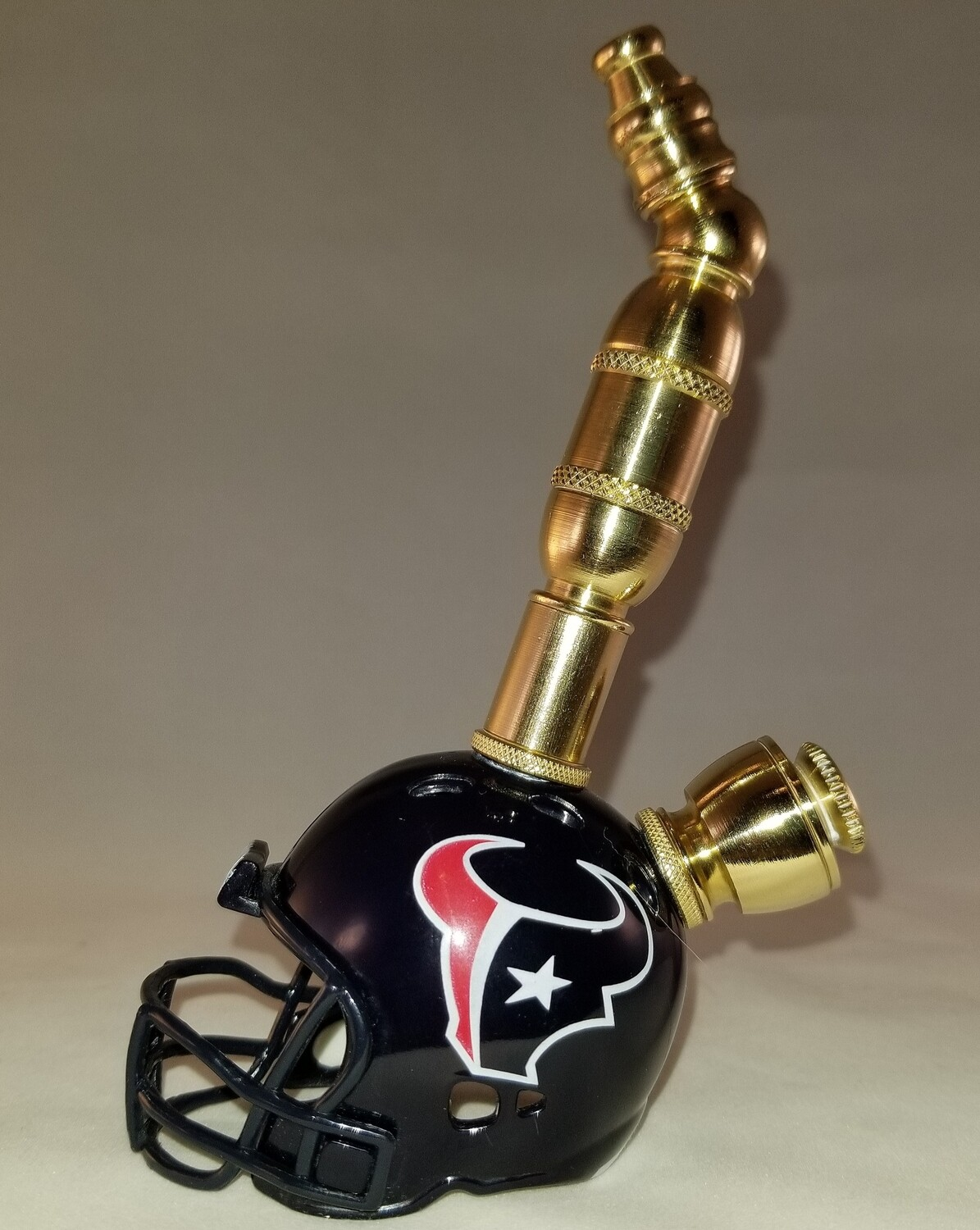 HOUSTON TEXANS NFL FOOTBALL HELMET SMOKING PIPE Upright/Brass