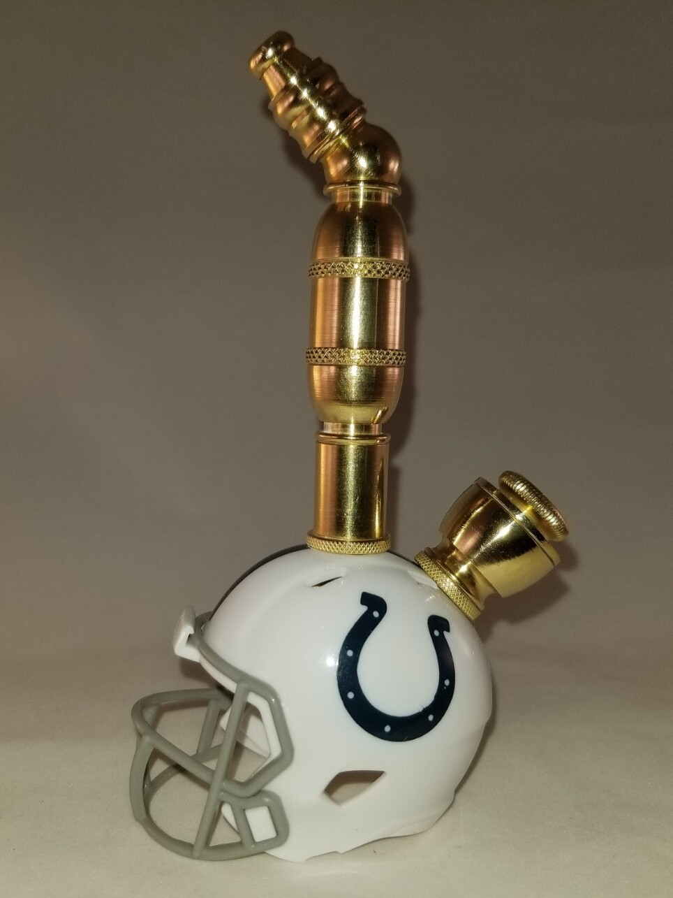 INDIANAPOLIS COLTS NFL FOOTBALL HELMET SMOKING PIPE Upright/Brass