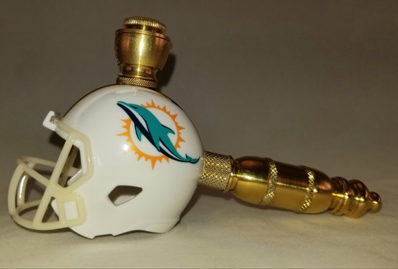 MIAMI DOLPHINS NFL FOOTBALL HELMET SMOKING PIPE Straight/Brass