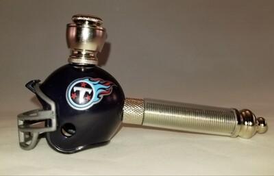 TENNESSEE TITANS NFL FOOTBALL HELMET SMOKING PIPE Long Stem/Nickel/Clear Stem