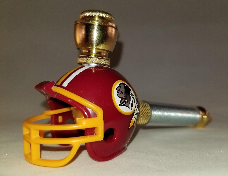 WASHINGTON REDSKINS FOOTBALL HELMET SMOKING PIPE Long Stem/Brass/Clear Sleeve