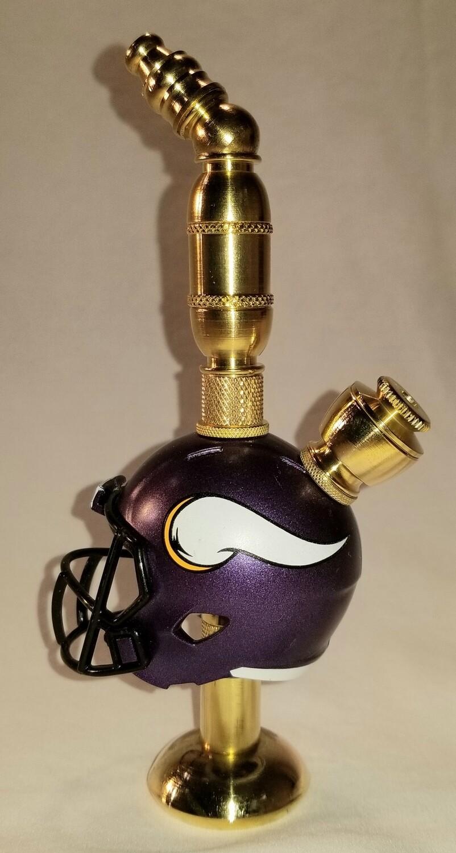 MINNESOTA VIKINGS NFL FOOTBALL HELMET SMOKING PIPE Stand Alone/Brass