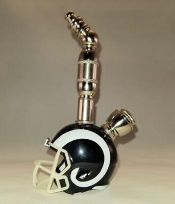 LOS ANGELES RAMS NFL FOOTBALL HELMET SMOKING PIPE Upright/Nickel/White