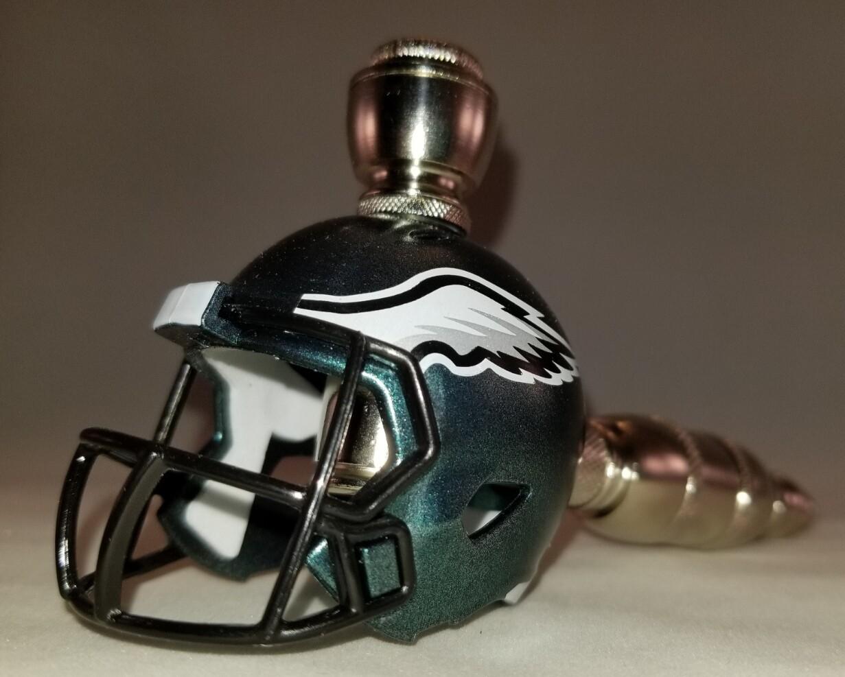 PHILADELPHIA EAGLES NFL FOOTBALL HELMET SMOKING PIPE Straight/Nickel