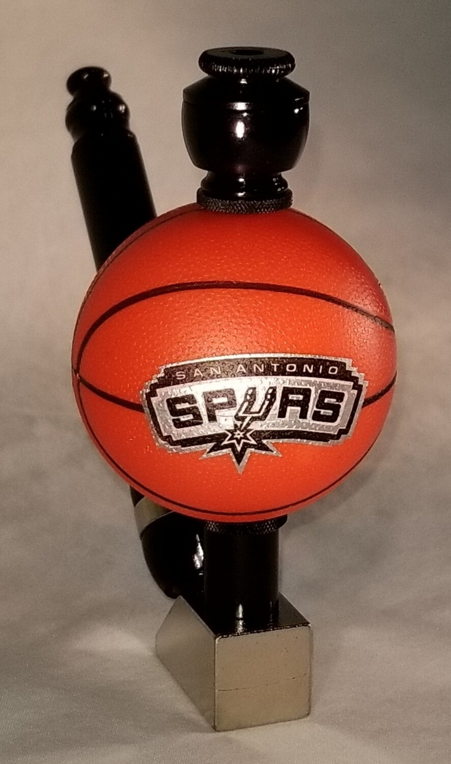 "SAN ANTONIO SPURS ""BAD ASS"" BASKETBALL SMOKING PIPE Wedge/Black Anodized/Brass Base"