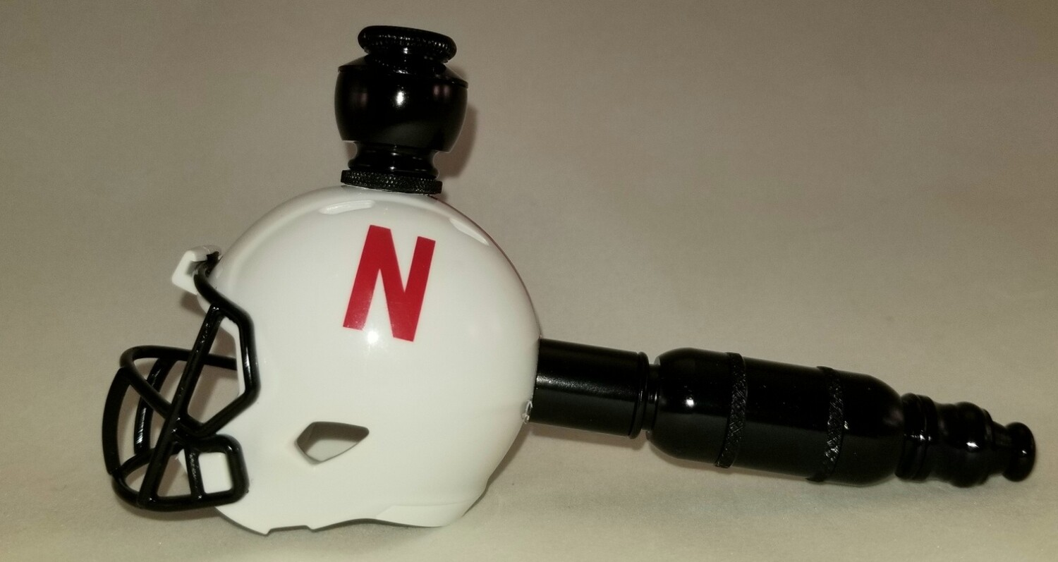 "NEBRASKA CORNHUSKERS ""BAD ASS"" FOOTBALL HELMET SMOKING PIPE Straight/Black Anodized"
