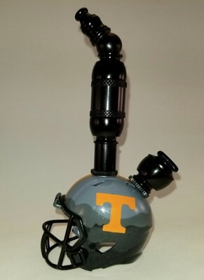 """TENNESSEE VOLUNTEERS """"BAD ASS"""" FOOTBALL HELMET SMOKING PIPE Upright/Black Anodized"""