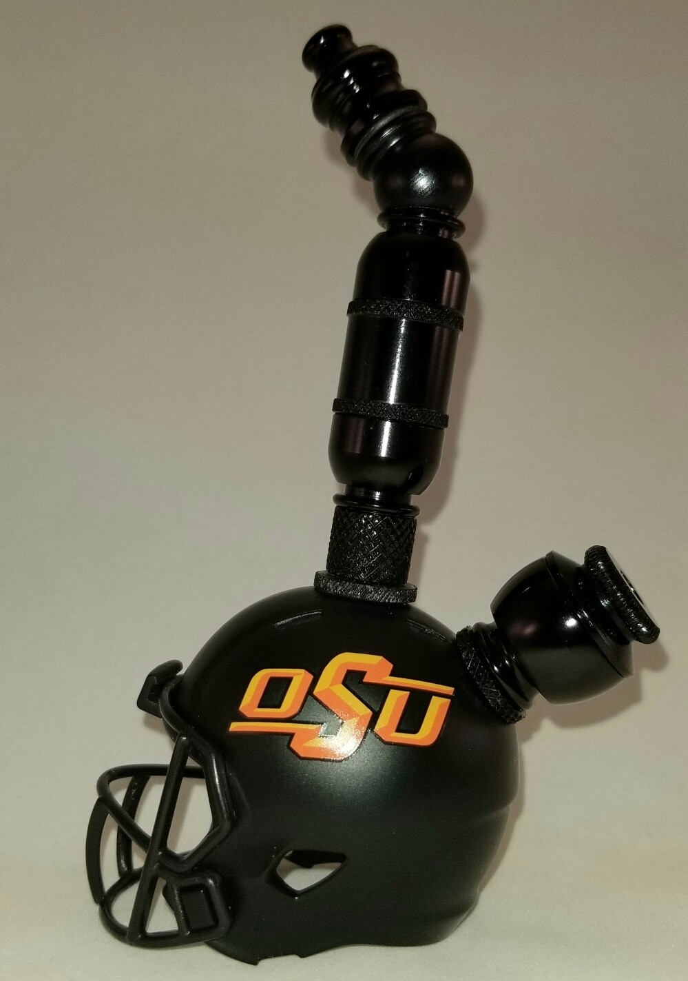 "OSU COWBOYS ""BAD ASS"" FOOTBALL HELMET SMOKING PIPE Upright/Black Anodized"