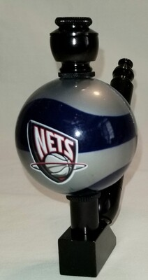 """BROOKLYN NETS """"BAD ASS"""" COLOR BASKETBALL SMOKING PIPE Wedge/Black Anodized/Color Ball"""