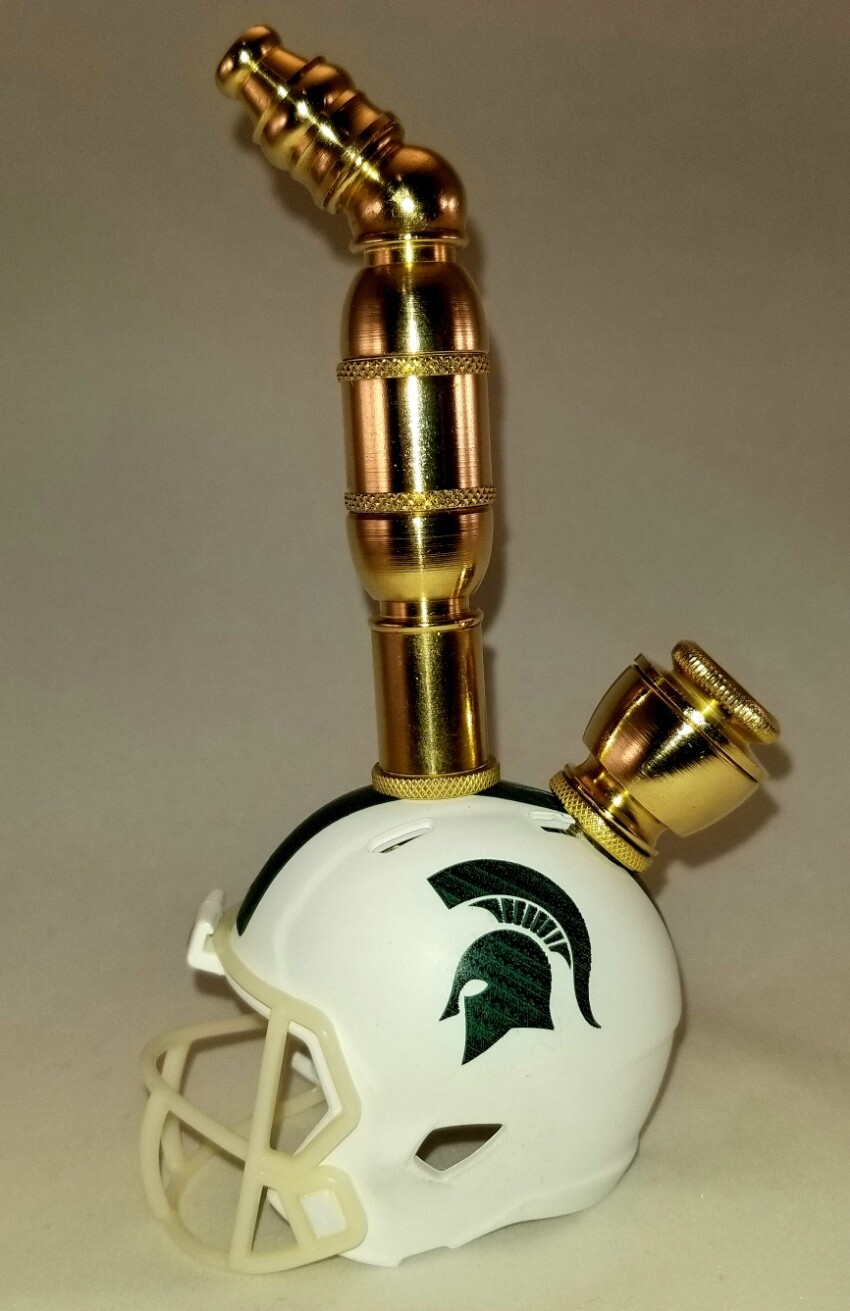 MICHIGAN STATE SPARTANS FOOTBALL HELMET SMOKING PIPE Upright/Brass/White