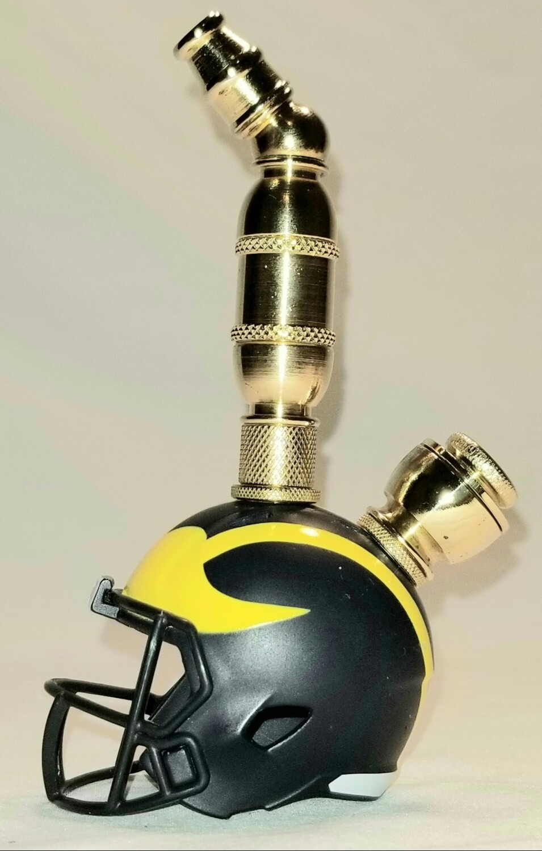MICHIGAN WOLVERINES FOOTBALL HELMET SMOKING PIPE Upright/Brass