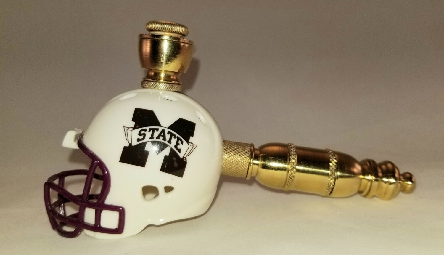 MISSISSIPPI STATE BULLDOGS FOOTBALL HELMET SMOKING PIPE Straight/Brass