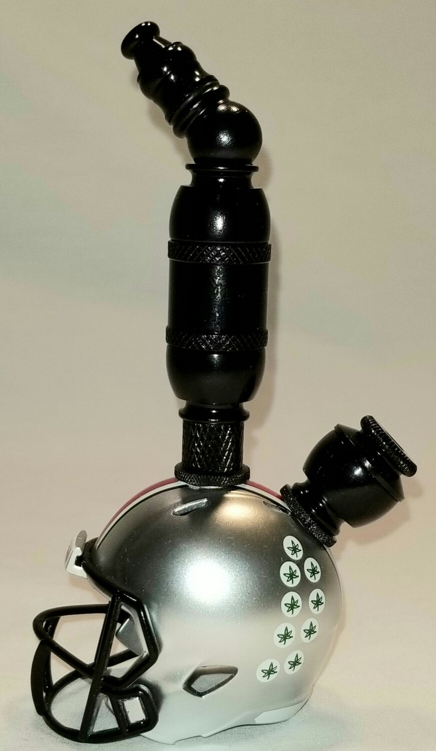 "OHIO STATE BUCKEYES ""BAD ASS"" FOOTBALL HELMET SMOKING PIPE Upright/Black Anodized"
