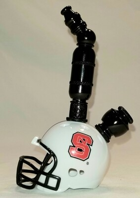 """NORTH CAROLINA STATE WOLF PACK """"BAD ASS"""" FOOTBALL HELMET SMOKING PIPE Upright/Black Anodized/White"""