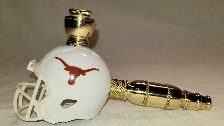 TEXAS LONGHORNS FOOTBALL HELMET SMOKING PIPE Straight/Brass