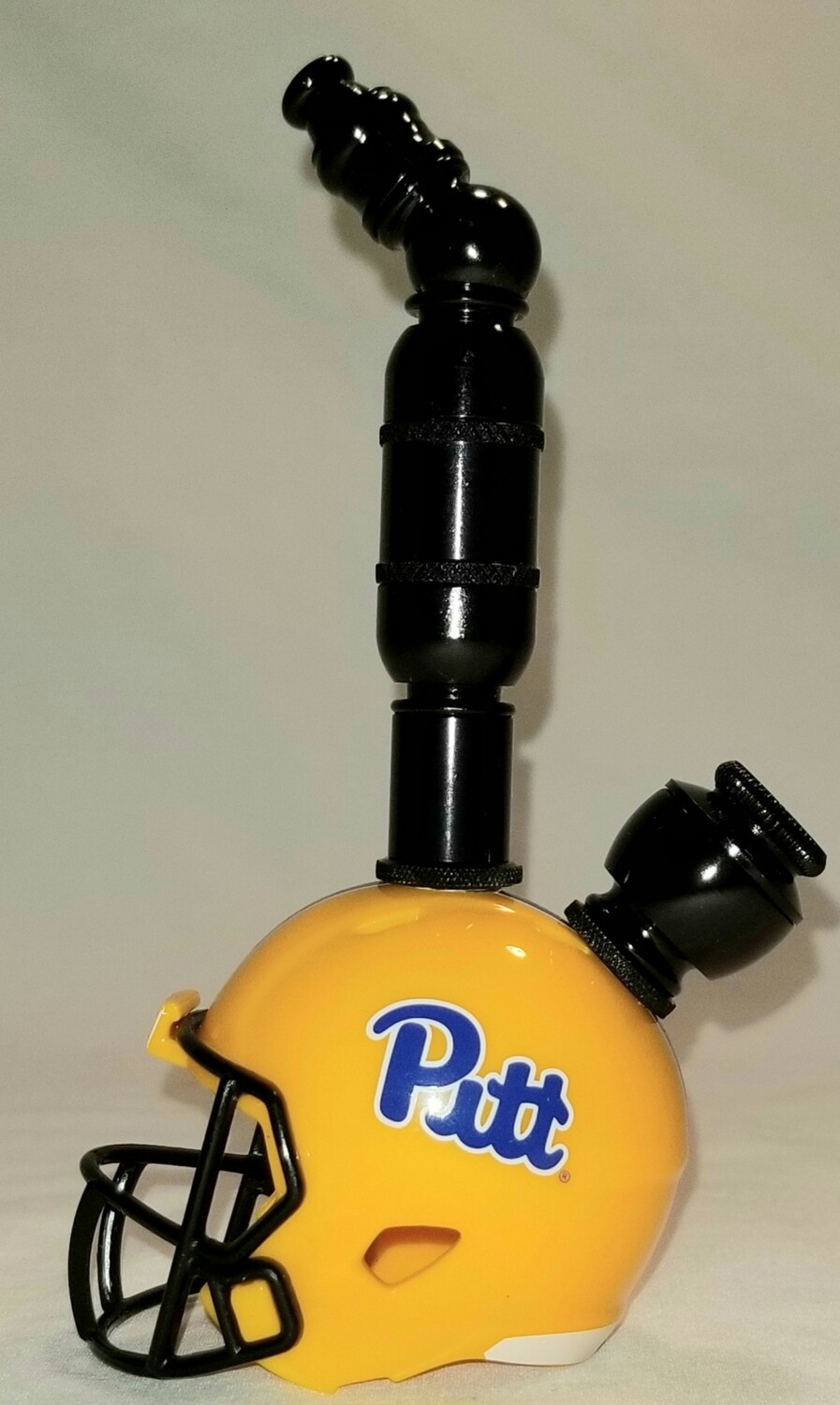 """PIT PANTHERS 2021 """"BAD ASS"""" FOOTBALL HELMET SMOKING PIPE Upright/Black Anodized/Yellow"""