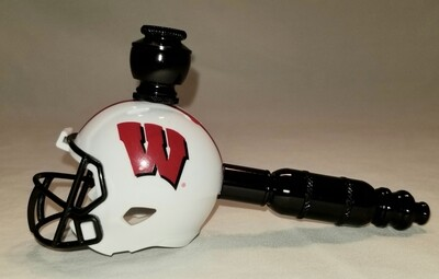 """WISCONSIN BADGERS """"BAD ASS""""  FOOTBALL HELMET SMOKING PIPE Straight/Black Anodized"""