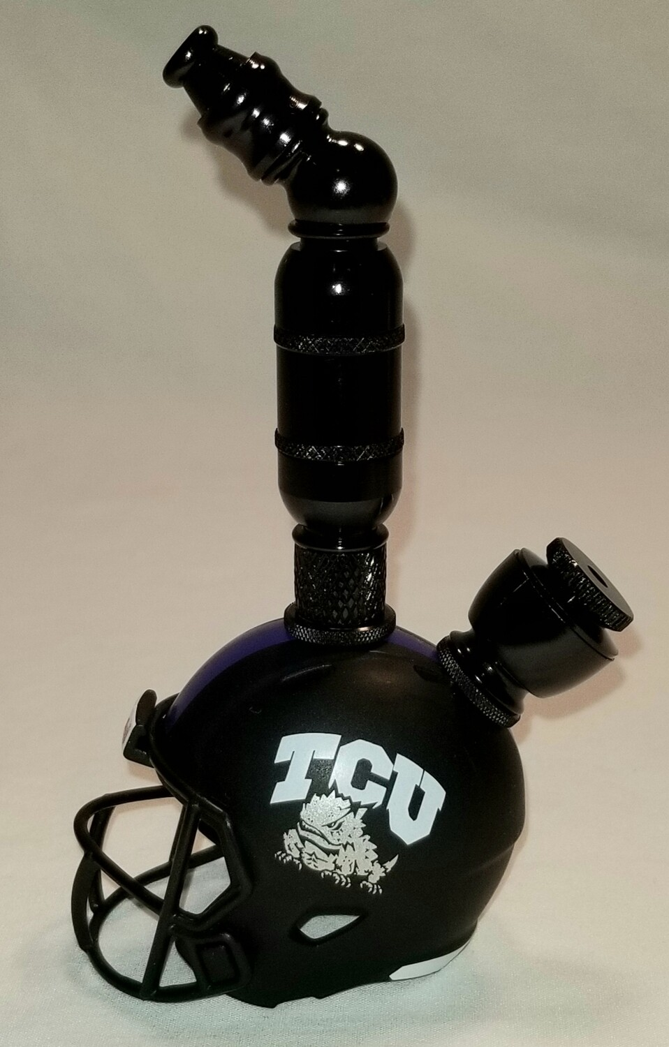 """TCU HORNED FROGS  2021 """"BAD ASS"""" FOOTBALL HELMET SMOKING PIPE Upright/Black Anodized"""