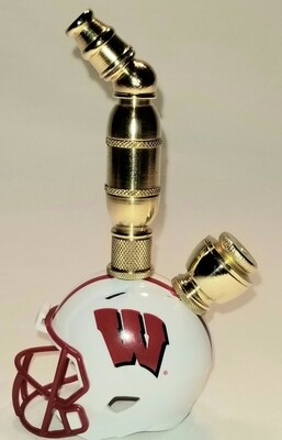WISCONSIN BADGERS FOOTBALL HELMET SMOKING PIPE Upright/Brass