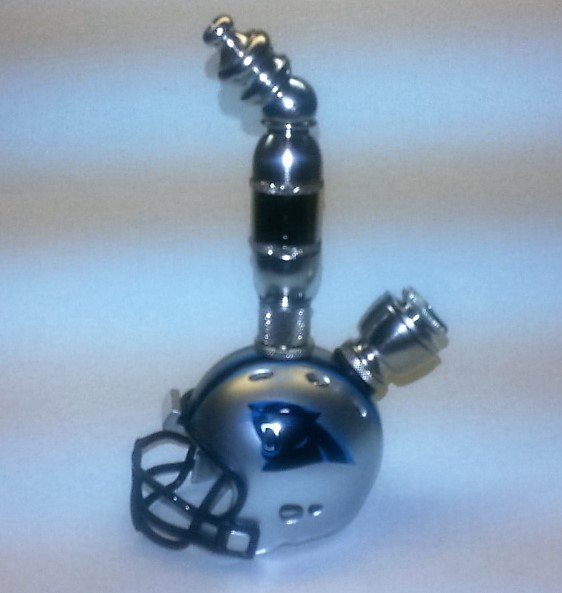 Carolina Panthers  NFL Helmet Pipe Upright Design  Nickel Finish