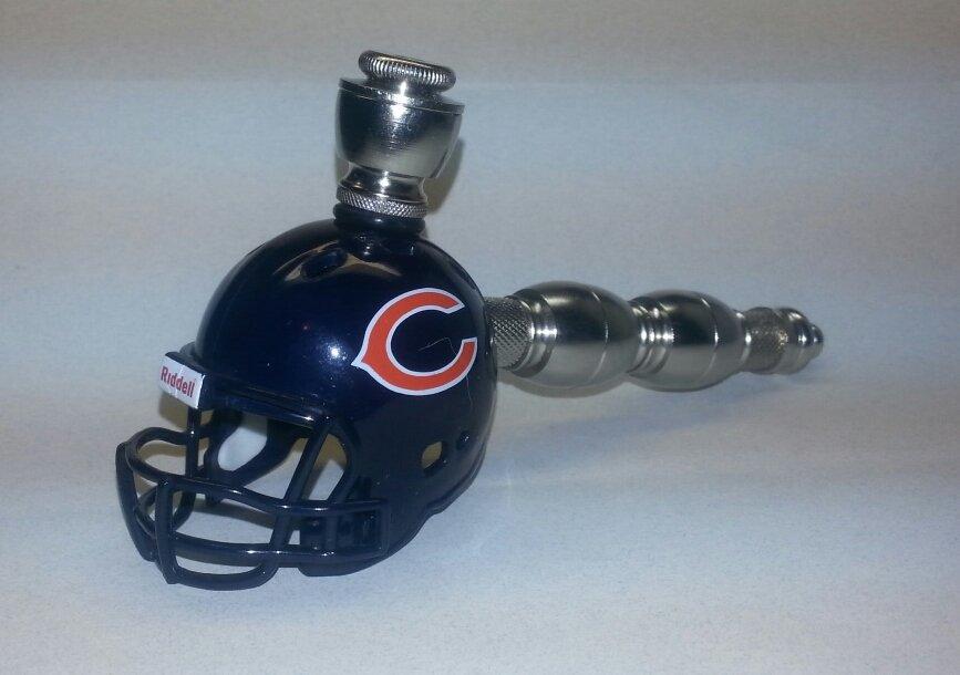 Chicago Bears NFL Football Helmet Double Chamber Straight Smoking Pipe