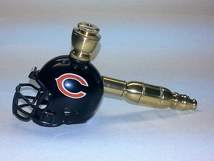 Chicago Bears NFL Helmet Pipe  Straight Design  Brass  Finish
