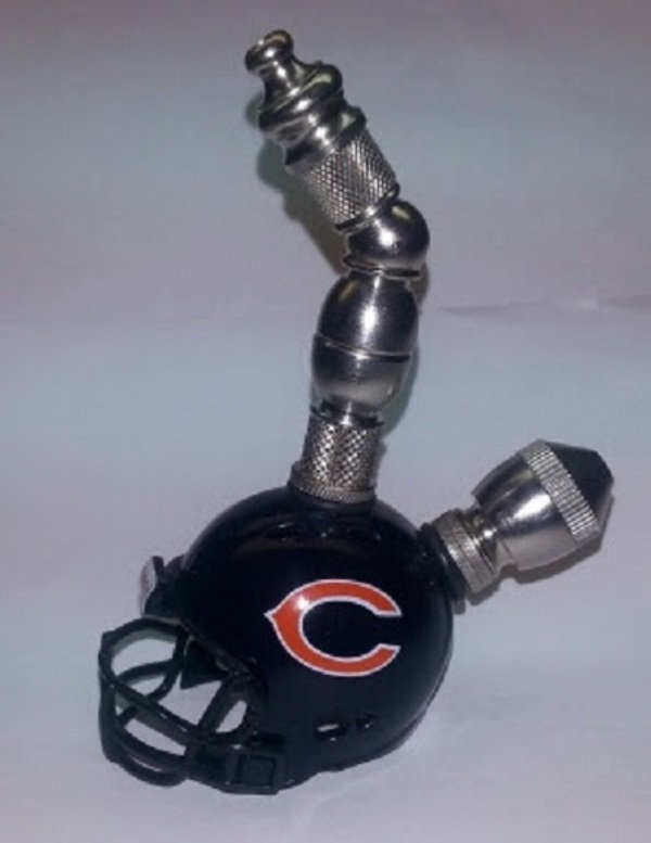 Chicago Bears NFL Helmet Pipe  Upright  Design  Nickel  Finish