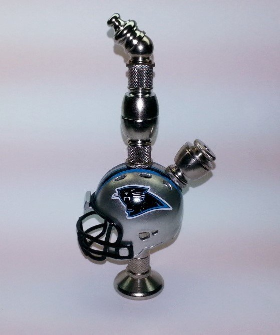 Carolina Panthers NFL Helmet Pipe Stand Alone Design Nickel Finish