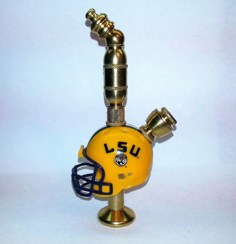 LSU Tigers  Helmet Pipe  Stand Alone Design  Brass Finish