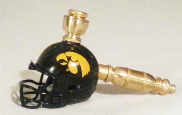 Iowa Hawkeyes Helmet Pipe  Straight Design  Brass Finish