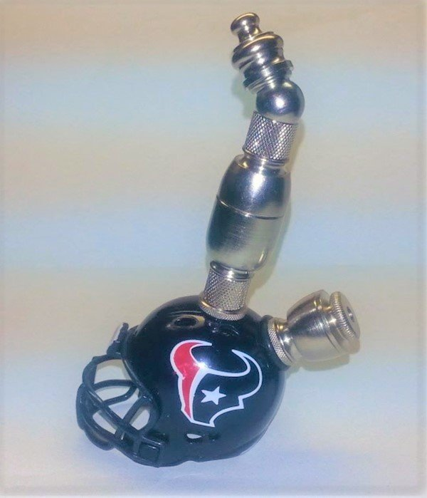 Houston Texans NFL Helmet Upright Design Pipe Nickel Finish