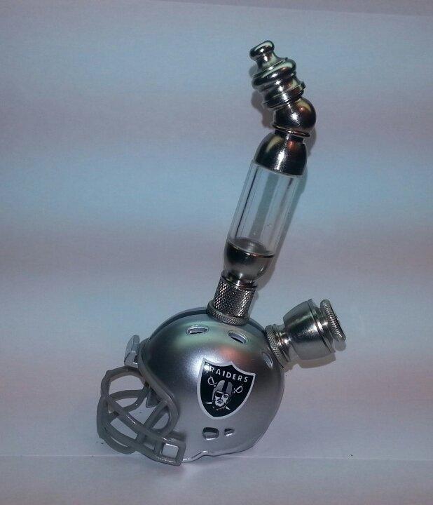LAS VEGAS RAIDERS NFL Helmet Pipe Upright Design Nickel Finish