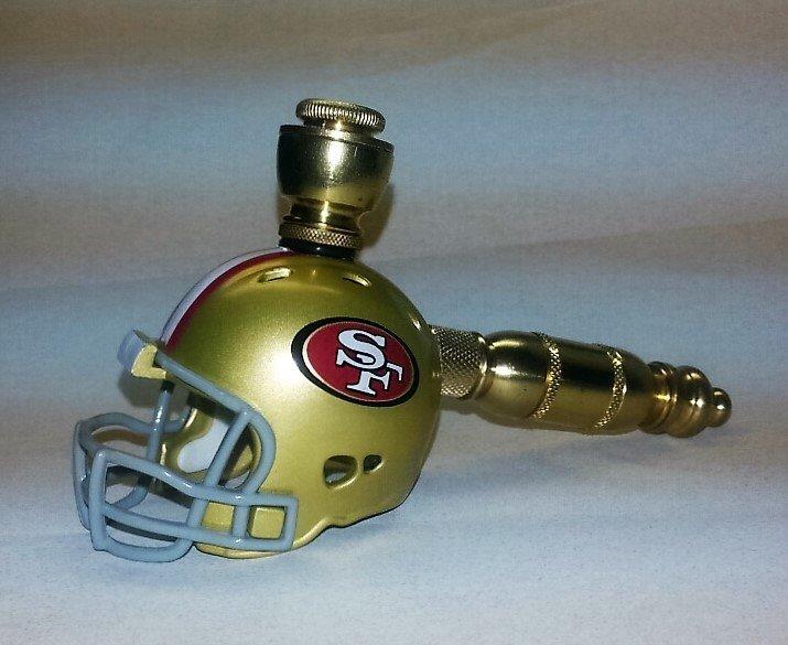 San Francisco 49er's NFL Helmet Pipe Straight Design Brass Finish