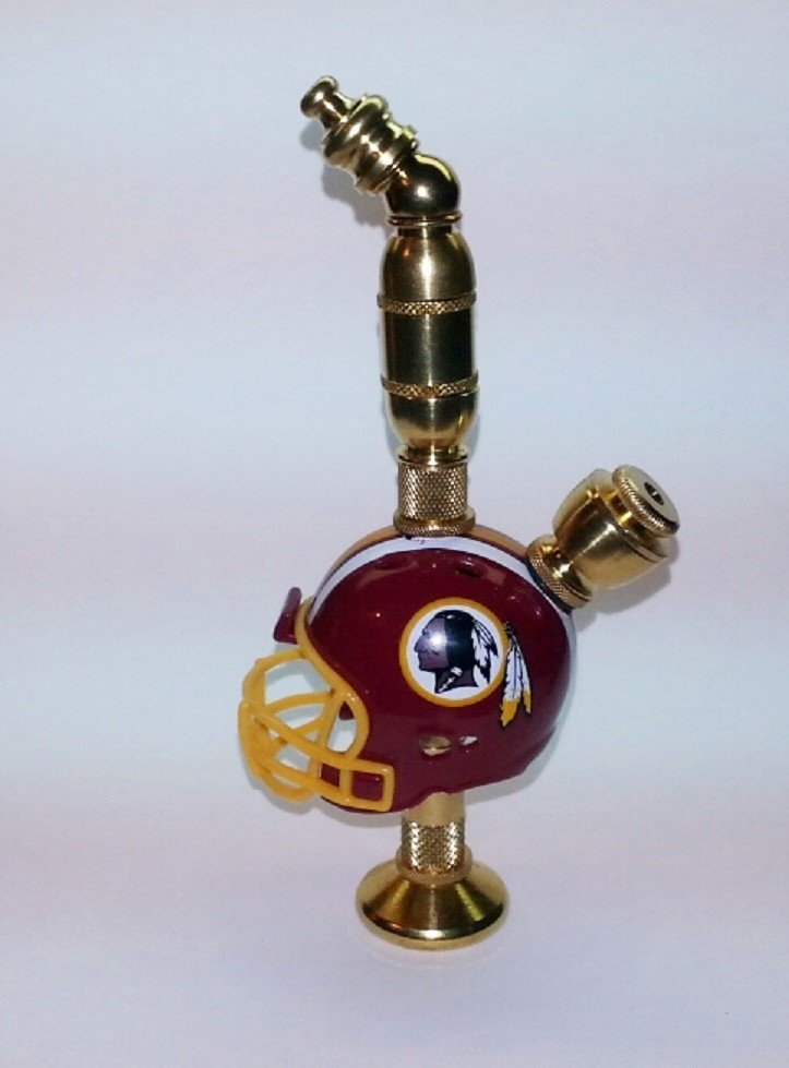 Washington Redskins NFL Helmet Pipe Stand Alone Design Brass Finish