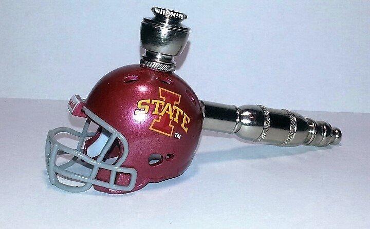 Iowa State Cyclones  Helmet Pipe  Straight Design  Nickel Finish