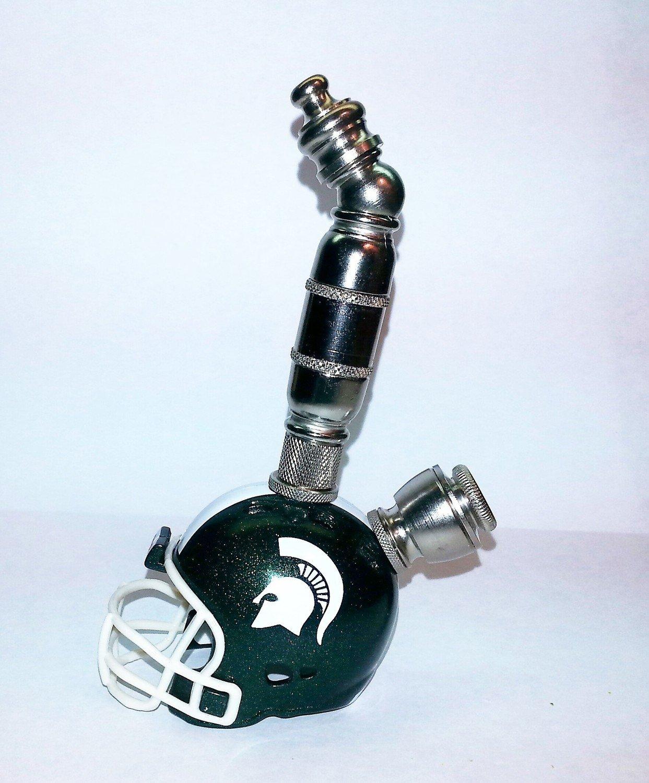 Michigan State Spartans Helmet Pipe  Upright Design  Nickel Finish