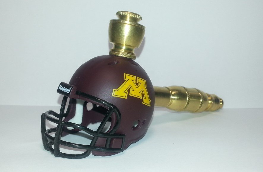 Minnesota Gophers  Helmet Pipe  Straight Design  Brass Finish