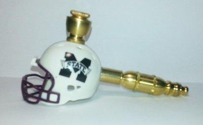 Mississippi State Bulldogs Helmet Pipe  Straight Design  Brass Finish