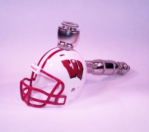 Wisconsin Badgers Helmet Pipe  Straight Design  Nickel Finish