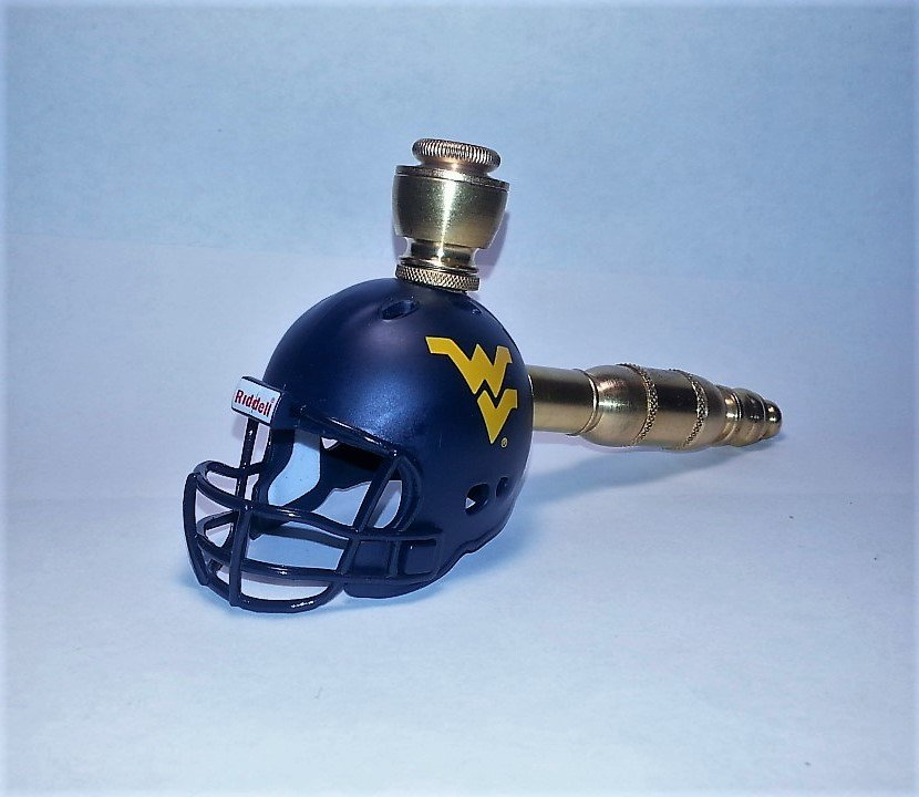 West Virginia Mountaineers Helmet Pipe  Straight Design Brass Finish