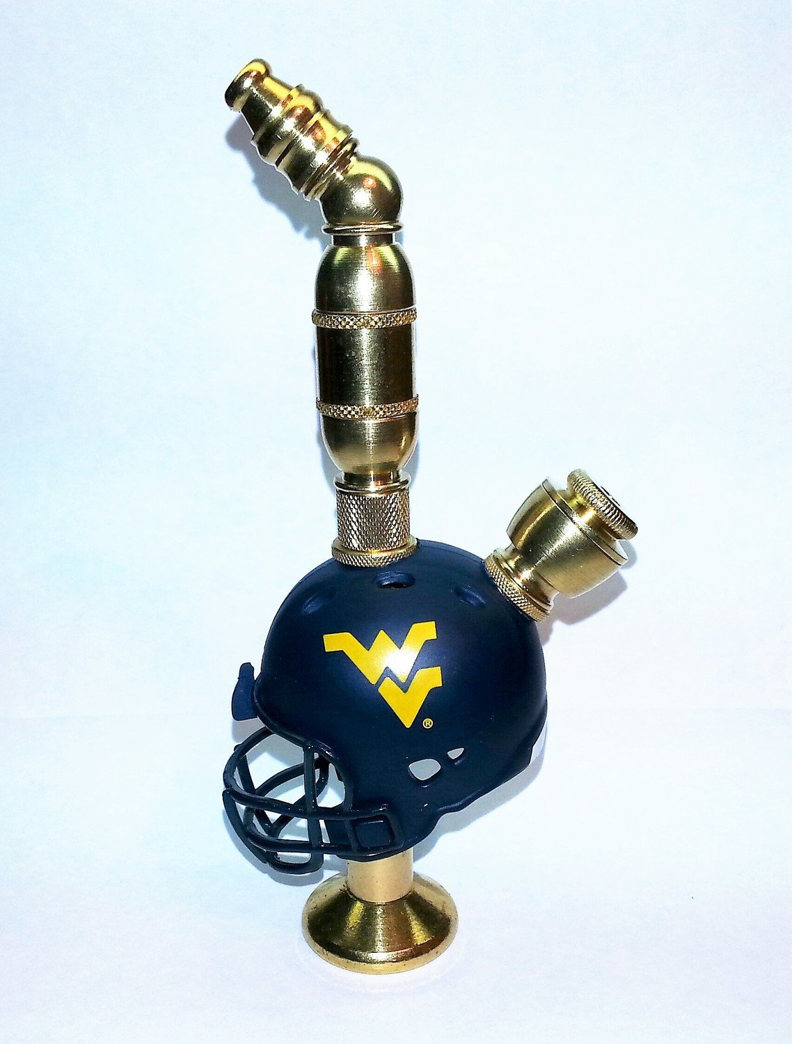 West Virginia Mountaineers Helmet Pipe  Stand Alone Design Brass Finish