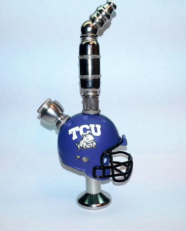 Texas Christian University Horned Frogs  Helmet Pipe  Stand Alone Design