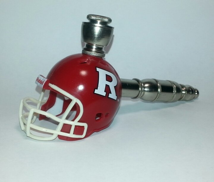 Rutgers Scarlet Knights Helmet Pipe  Straight Design  Nickel Finish
