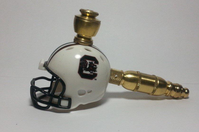 South Carolina Gamecocks Helmet Pipe  Straight Design Brass Finish